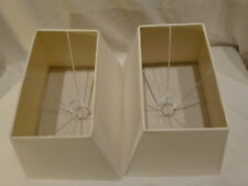 """Vintage Square Pair of Ivory Linen Lamp Sharp Shades Mid Century UNO 9"""" (2) $184"""