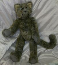 "OOAK Handmade SUSIE HOPKINS Plush Big 23"" Jointed LEOPARD KITTY CAT w/Green Eyes"