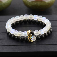 8mm Moonstone Stone Bead Lover Crown Women Mens Couples Distance Bracelets Gift