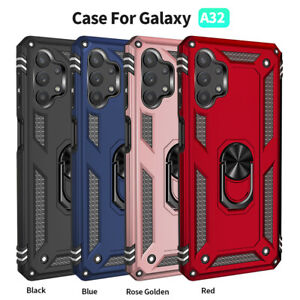 For Samsung Galaxy A32 A42 A12 Case Shockproof Armor Stand Cover+Tempered Glass