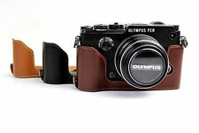 Bottom Opening Genuine Real Leather Half Camera Case Bag For Olympus PEN-F PENF