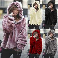 Women Winter Oversize Hooded Shirt Velvet Sweatshirt Hoodie Pullover Coat Jacket