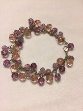 With Shades Of Lavender Beads, 7� Anne Koplik Designs Silver Chain Bracelet