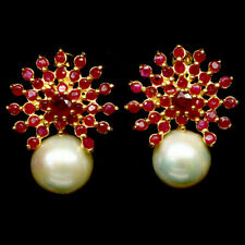 NATURAL CREAMY WHITE PEARL & RUBY 925 STERLING SILVER EARRINGS