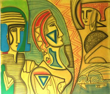 Painting Abiezer Agudelo CERTIFIED Canvas Expressionist acrylic Figurative
