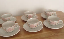 BOOTS HEDGE ROSE CUPS AND SAUCERS x 6