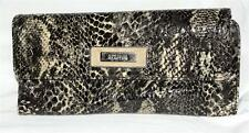 Kenneth Cole Reaction Black Snake Embossed Faux Patent Leather Organizer Wallet