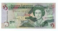 Billete de Antiguo Caribe 5 Dollars  serie AD  circulado  Rfe.421