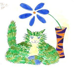 Original Art: Cat Vase Flower v3 green cat blue paws #PeterBrighouseArtist