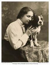 8x10 SEPIA PHOTO: HELEN KELLER PORTRAIT w BOSTON TERRIER DOG SIR THOMAS TOM 1902