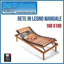 RETE A DOGHE MANUALE 160X190 MATRIMONIALE IN FAGGIO NATURALE  AMMORTIZZATAI