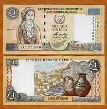 Cyprus, 1 pound, 2004, P-60d, Unc > Woman in a traditional dress, Last Pre-Euro