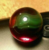 """Green on OxBlood Hybrid VITRO JABO CLASSIC UV Toys Vintage Marbles .60"""""""