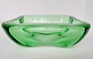 VINTAGE HEAVY GREEN GLASS CANDY DISH
