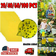 100x Yellow Sticky Glue Paper Insect Trap Catcher Killer Fly Bugs Aphids Wasp F2