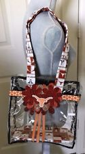 Women's Clear PVC Hand-Decorated Stadium Tote Bag in UT Longhorn Theme