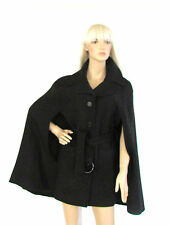 New Michael Michael Kors Black Notched Collar Button Front Belted Trench Cape L