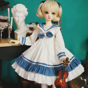 "BJD Clothes SD Dress (White) - for 1/3 22"" BJD doll outfit"