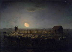 Jean Francois Millet The Sheepfold Moonlight Giclee Paper Print Poster