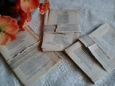 Vintage antique paper pages from old poetry books poems for art craft collage