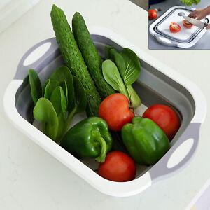 4 in 1 Folding Chopping Cutting Board Sink Drain Basket Washing Up Bowl Kitchen