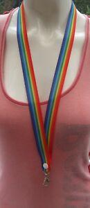 Pride rainbow lanyard breakaway keys, 2 sizes ID badges ribbon gay lesbian nhs