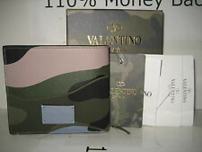 $495 NEW Valentino Men Camouflage Logo Leather Credit Cards ID Bifold Wallet Box