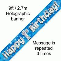 Happy 1st Birthday Blue Stars Holographic 9ft Banner