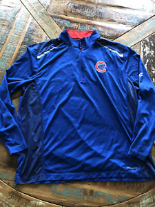 Mens Majestic Coolbase Blue Chicago Cubs Quarter Zip Shirt Size XXL