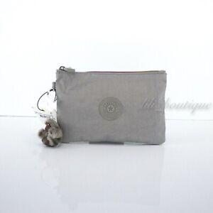 NWT Kipling AC8641 VIV Cosmetic Accessory Pouch Rainbow Zip Nylon Stormy Grey 24