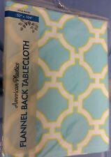 "FLANNEL BACK VINYL TABLECLOTH 52"" x 104"" (8-10 ppl) CIRCLE TYPE DESIGN by A"