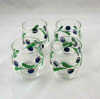 """4 Dansk Berries Blueberry Double Old Fashioned Glasses 12 oz 3-7/8"""" Excellent"""