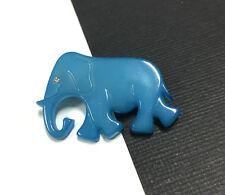 Vintage FIGURAL BD DENMARK Old Plastic Blue ELEPHANT Rhinestone Eye Brooch HH68m
