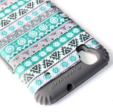 ZTE Boost Max N9520 - HARD&SOFT RUBBER HYBRID SKIN CASE GREEN GRAY AZTEC TRIBAL
