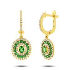 1.40 TCW 14K Yellow Gold Natural Oval Green Garnet Diamond Dangle Drop Earrings