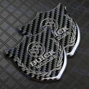 For BUICK VIP Emblem 3D Sticker Carbon Fiber Front Body Trunk Rear Side Badge X2