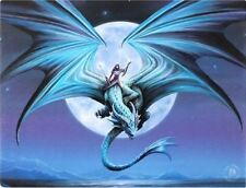 "Moonstone Dragon Canvas Wall Plaque by Anne Stokes 10"" x 7.5"""