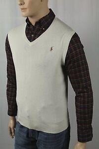Polo Ralph Lauren Cream Pima Sweater Vest Tan Pony NWT