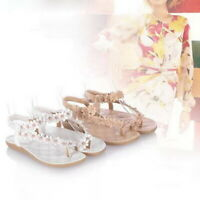 Ladies Womens Flat Comfort Diamond Summer Beach Dress Sandals Shoes Size 3-7
