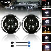 "Pair 7"" Inch DOT LED Headlights Halo Angle Eye For Jeep Wrangler CJ JK LJ TJ"