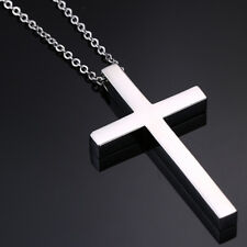 Silver Cross Prayer Pendant Men Man Necklace Stainless Steel Biker Polished Gift
