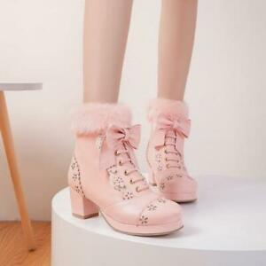 Sweet Womens Lolita Bowknot Warm Round Toe Ankle Boots Fashion High Heels Shoes