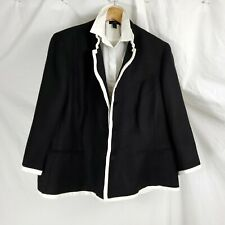 Lauren Ralph Lauren Womens 16W Linen Jacket Black White Piping 100% Linen Lined