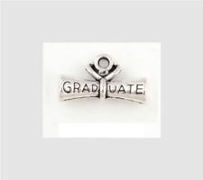 6 Graduation Diploma Scroll Charms 3-D  Antique Silver Tone 21 x 13 mm USA 1021