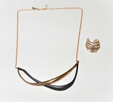 Lot of 2 Alexis Bittar Gold Swarovski Crystal Ring & Gold/Black Necklace