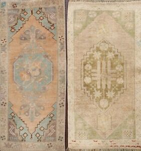 Pack of 2 Vintage Muted Anatolian Turkish Geometric Area Rug Hand-knotted 2'x3'