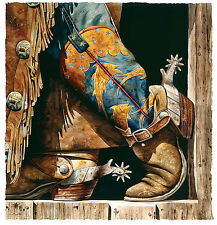 """Cowboy Fishin' Boots"" Nelson Boren Limited Edition Giclee Print - Western Art"
