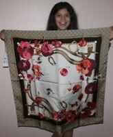 "$480 NWT NEW Gucci Silk BLOOMS Floral Scarf Shawl 35"" x 35"" PINK/MULTI"