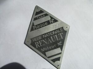 Nameplate Renault Shield R4 4cv Goelette Frigate Id-Plate Day s50