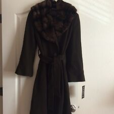 NWT! GORGEOUS SEARLE LONG COAT W/ RABBIT FUR COLLAR! WOMENS 6 $1595.00+ MUST SEE